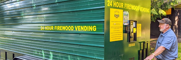 Mobile firewood vending machine serves guests in Washington park